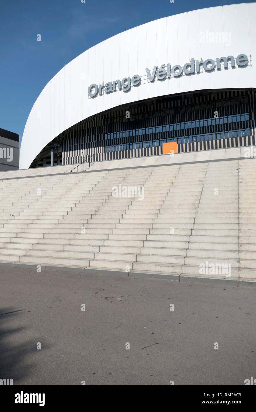 Impressive curved and geometric contemporary frontage of the Orange Velodrome Marseille Football Stadium, Marseille, Provence, France. - Stock Image