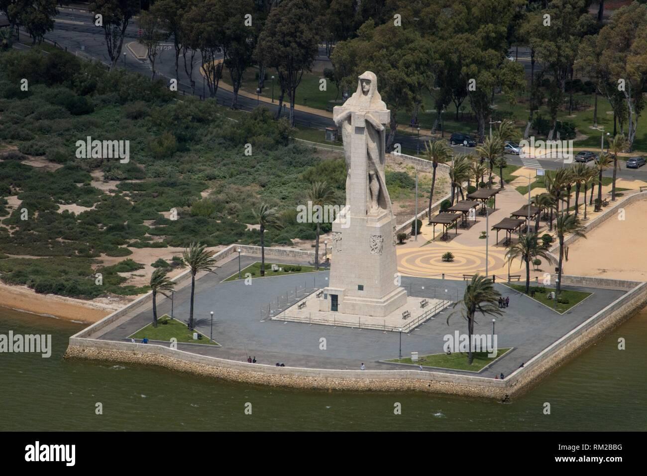 Monumento a la Fe Descubridora (Columbus monument), Huelva, Spain - Aerial - Stock Image