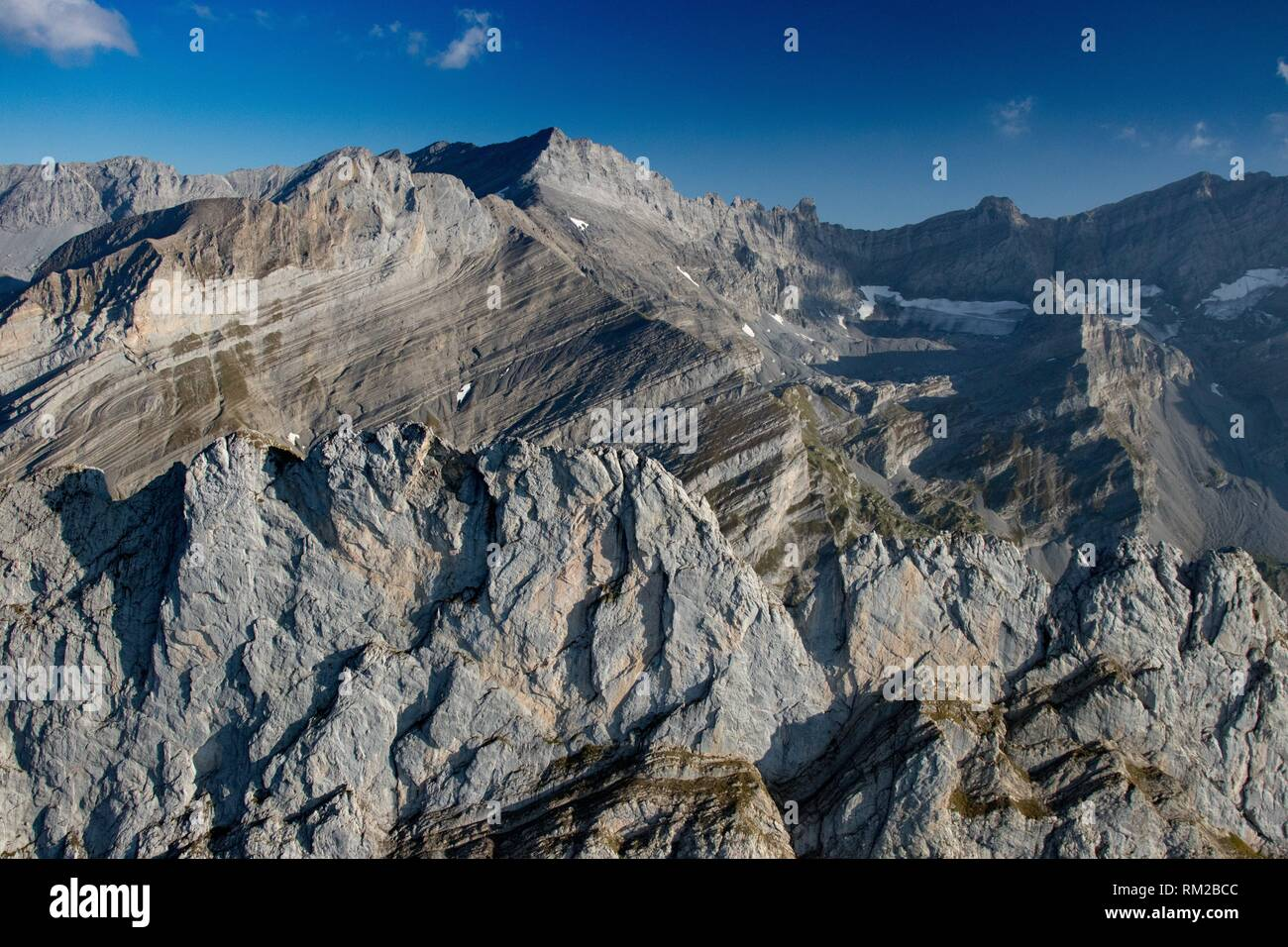 Looking south with Grand Muveran in the background. Bernese Alps. Switzerland. - Stock Image