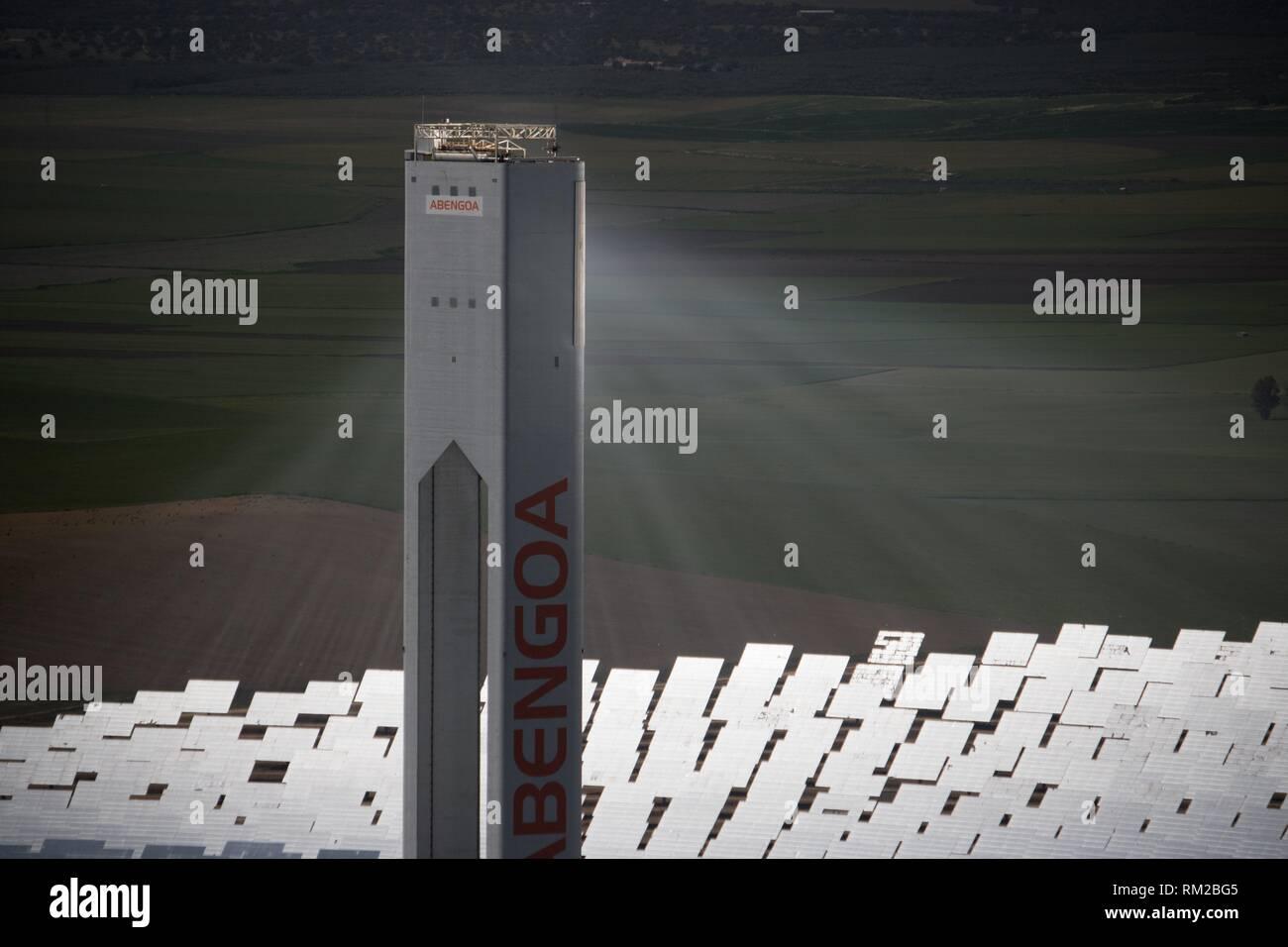Solar Installation, Sanlucar de Mayor, Andalusia, Spain - Aerial - Stock Image