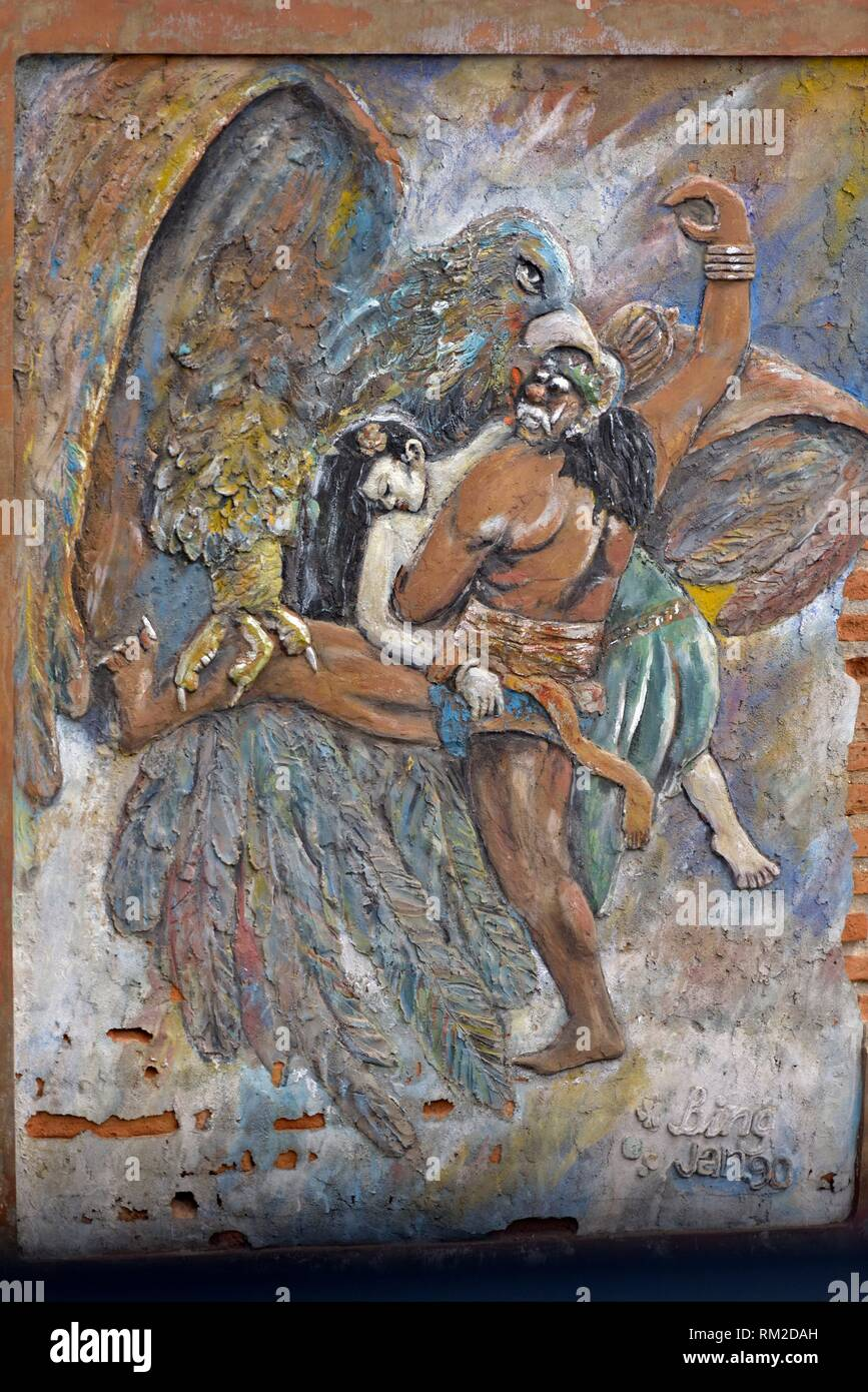 painting in low-relief, Java island, Indonesia, Southeast Asia. - Stock Image