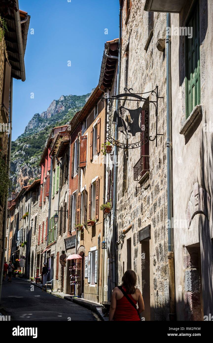 Medieval street in Villefranche-de-Conflent (department of Pyrénées-Orientales, region of Occitanie, France). Stock Photo