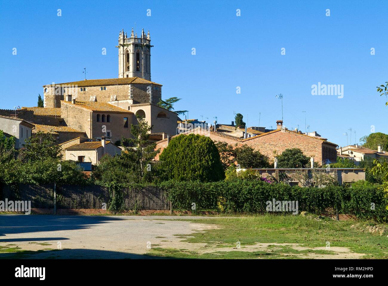 landscape of the population of the pera,girona,catalonia,spain,. - Stock Image