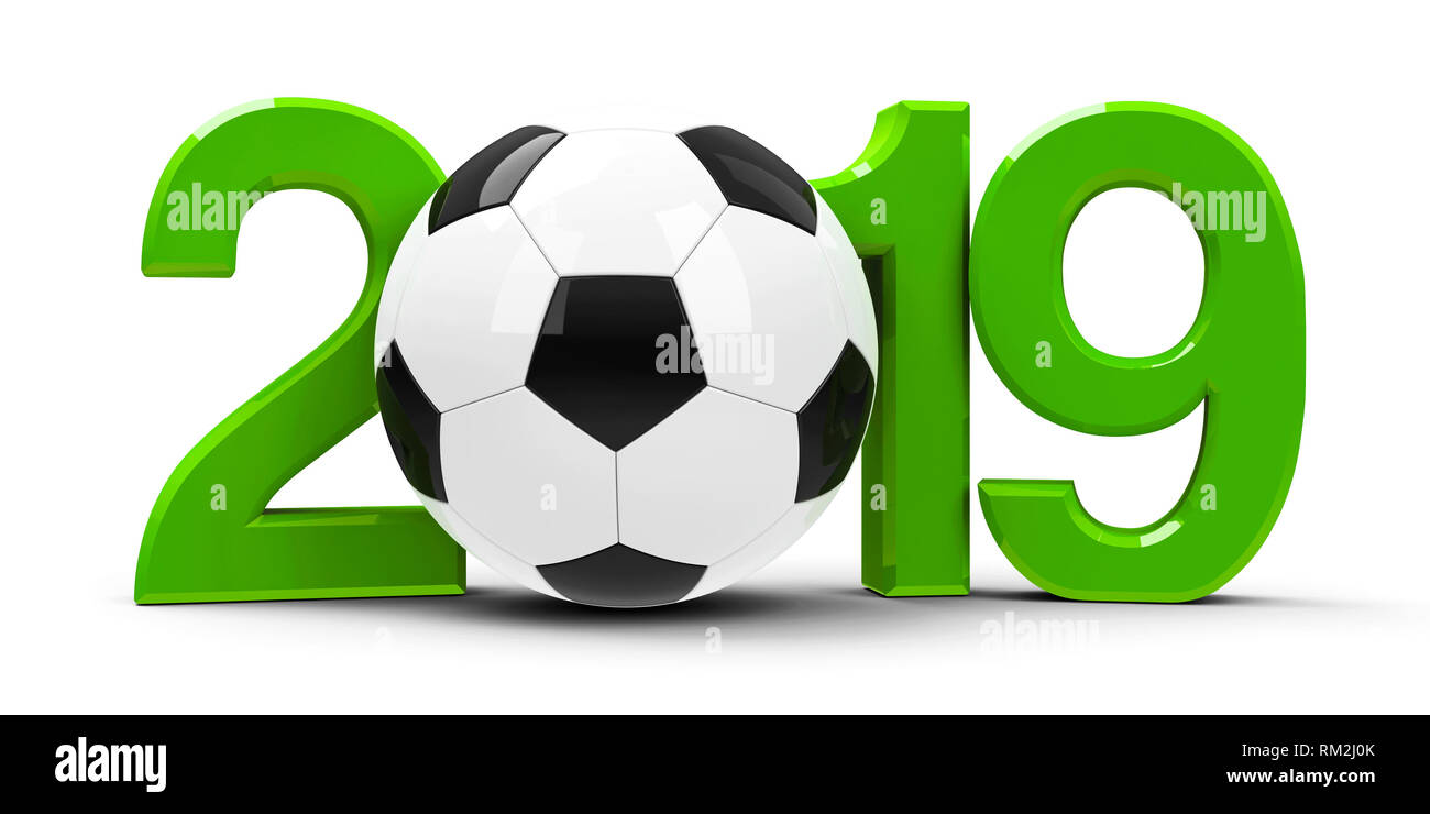Green 2019 with football isolated on white background, represents football championship, three-dimensional rendering, 3D illustration - Stock Image
