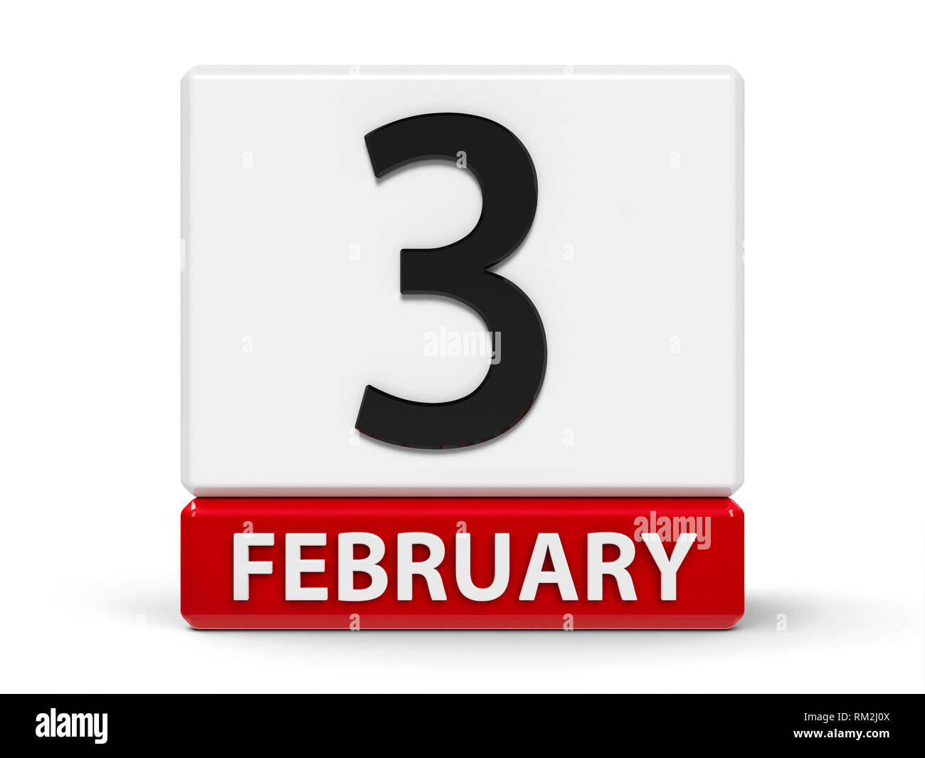 Red and white calendar icon from cubes - The Third of February - on a white table, three-dimensional rendering, 3D illustration - Stock Image