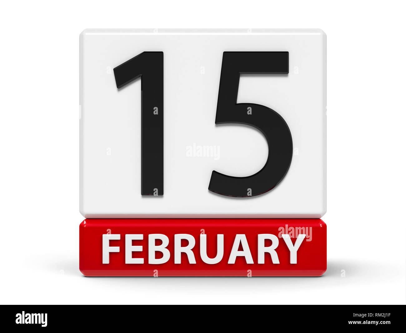 Red and white calendar icon from cubes - The Fifteenth of February - on a white table - International Childhood Cancer Day and National Flag of Canada - Stock Image
