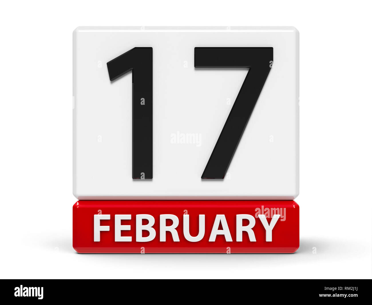 Red and white calendar icon from cubes - The Seventeenth of February - on a white table - Random Acts of Kindness Day, three-dimensional rendering, 3D - Stock Image