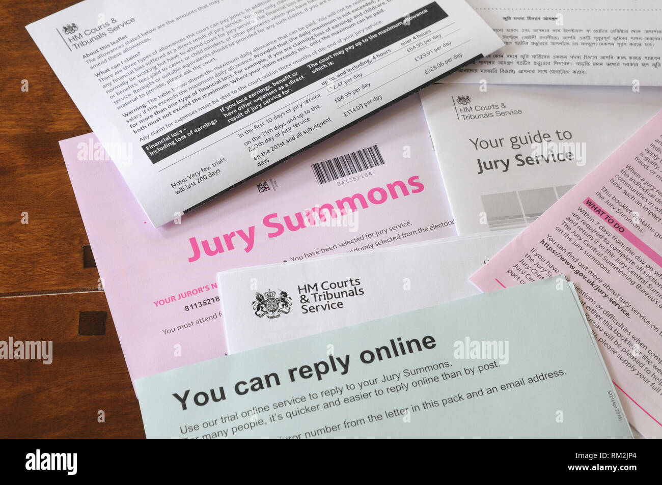 Jury Summons letter with general information forms, England, UK - Stock Image