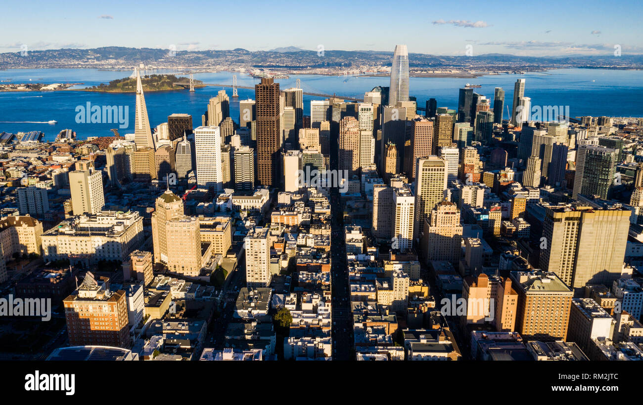 Financial District, downtown skyline, San Francisco, CA, USA - Stock Image
