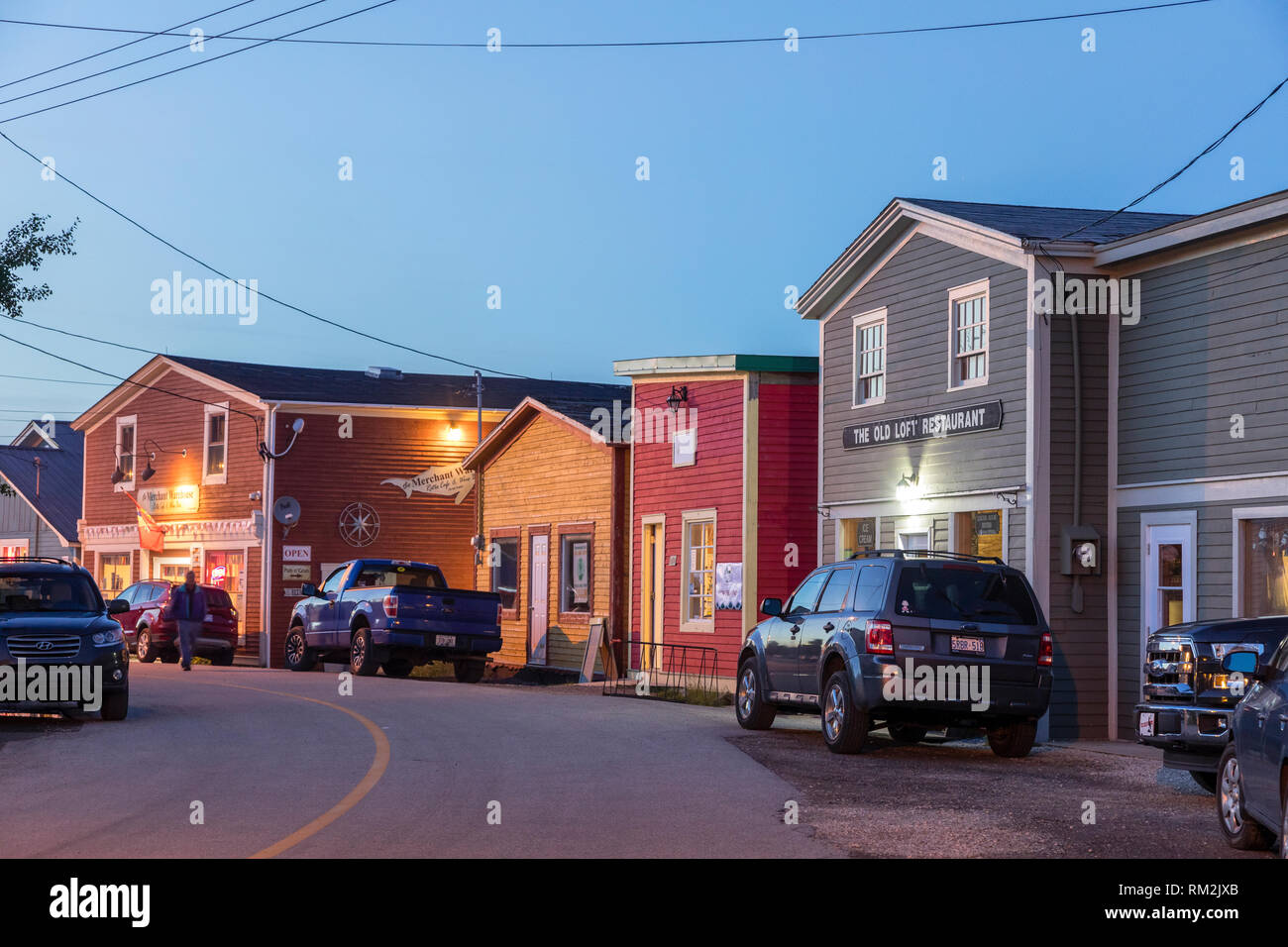 Night Life in Woody Point, in Gros Morse National Park at dusk. - Stock Image