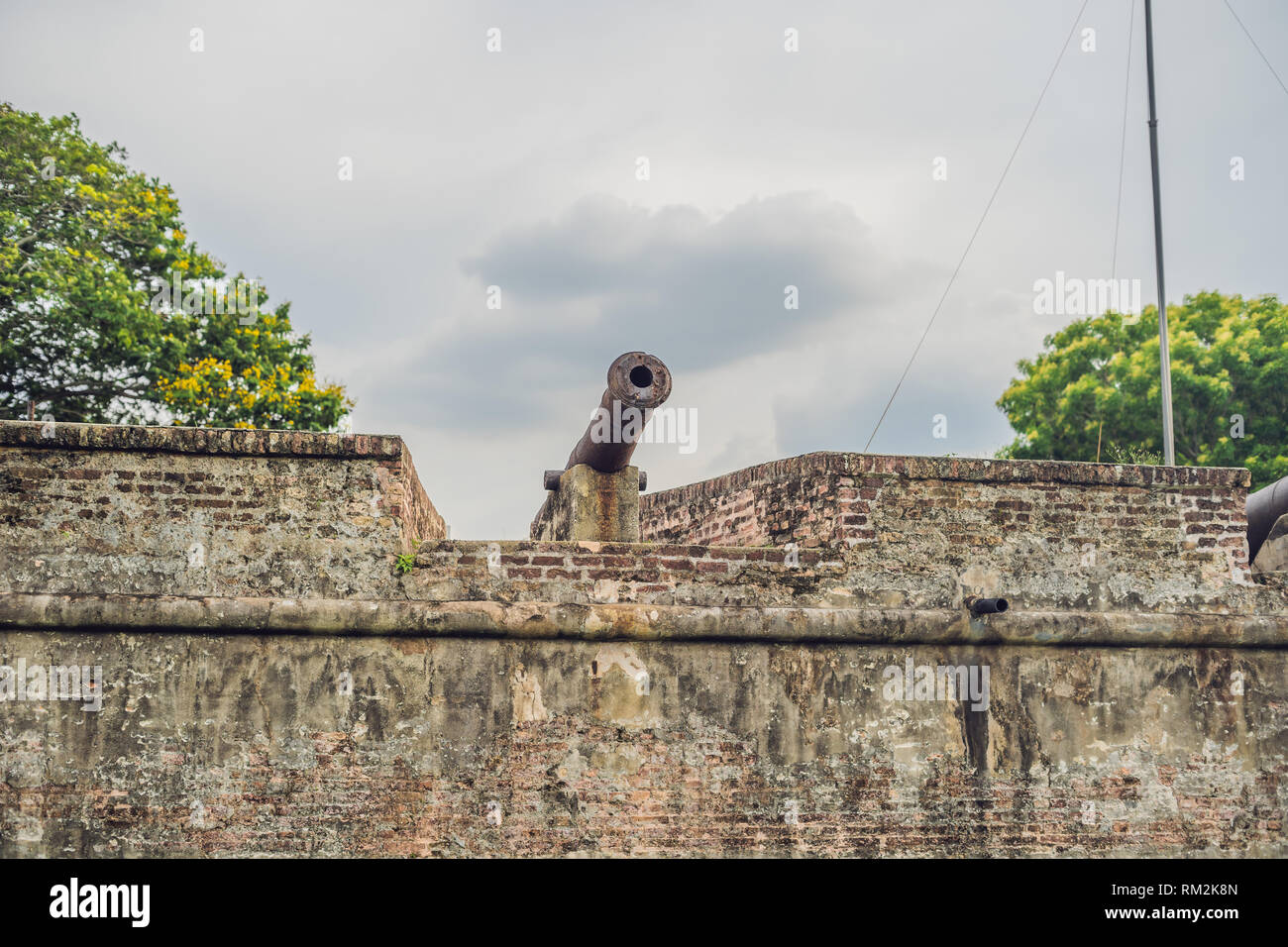 Fort Cornwallis in Georgetown, Penang, is a star fort built by the British East India Company in the late 18th century, it is the largest standing - Stock Image