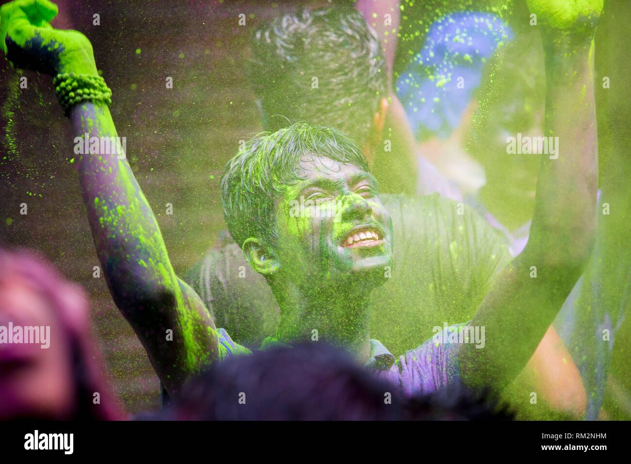 Color of festival 2016. Shankhari Bazar in big color powder market of dhaka ready for big Hindu festival in Dol and Holi festivals. Over the years it - Stock Image