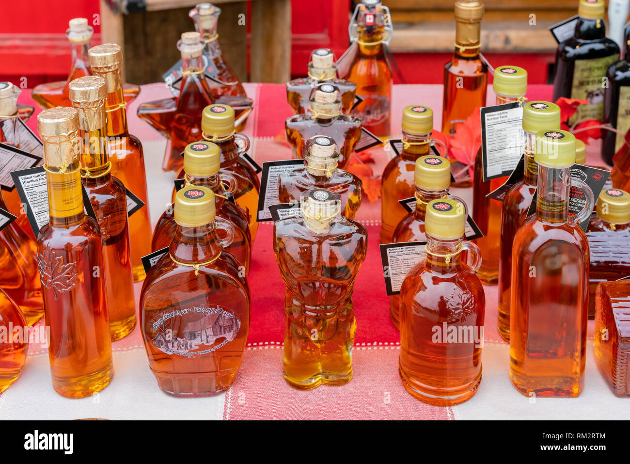 Montreal, OCT 3: Close up shot of many bottle of maple syrup on OCT 3, 2018 at Montreal, Quebec, Canada - Stock Image