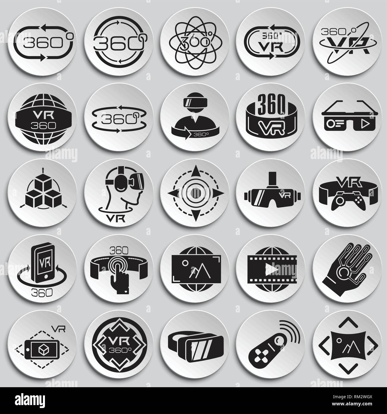 7776779d837 Virtual reality icons set on plates background for graphic and web design