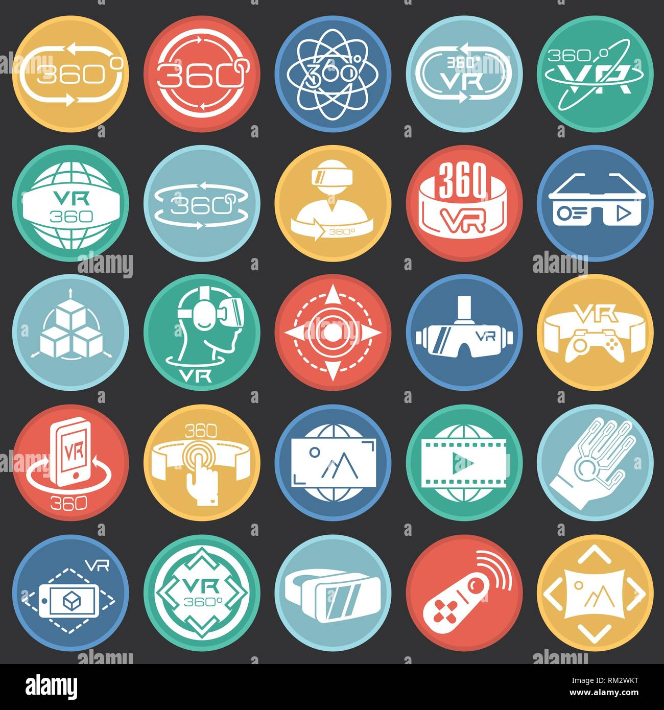 06f8abd261a Virtual reality icons set on color circles black background for graphic and  web design