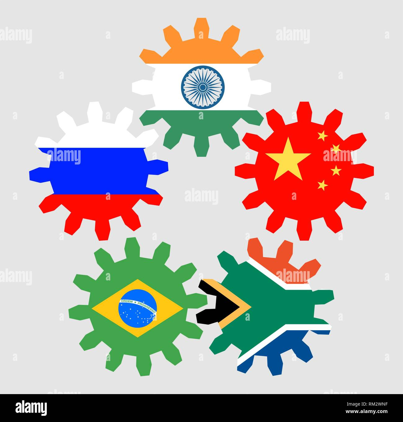 brics union members national flags - Stock Vector