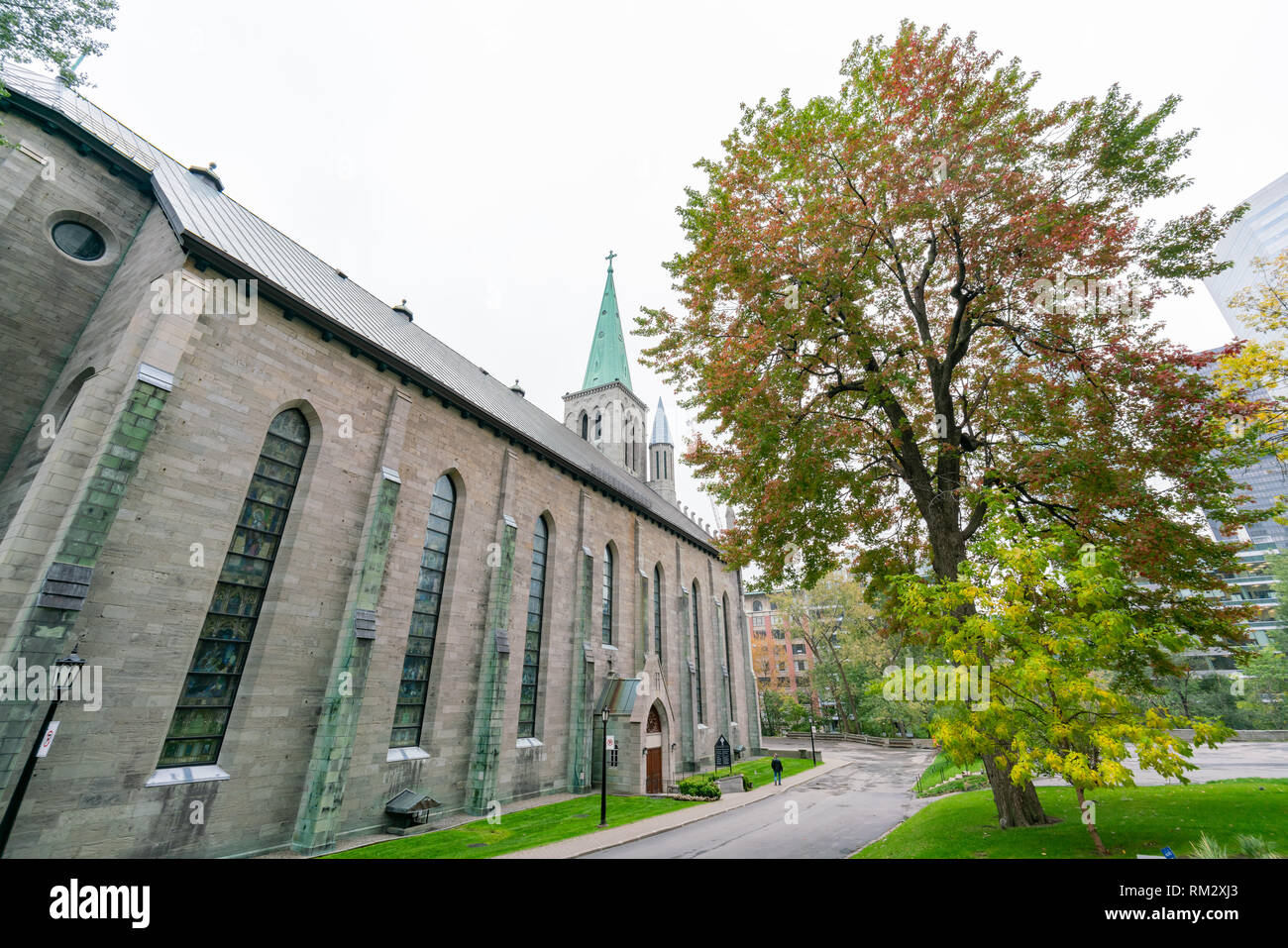 Exterior view of the famous Saint Patrick's Basilica at Montreal, Canada - Stock Image