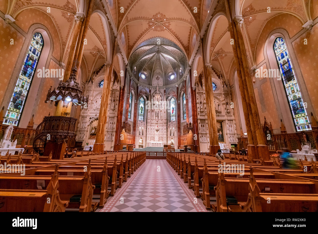 Interior view of the famous Saint Patrick's Basilica at Montreal, Canada - Stock Image