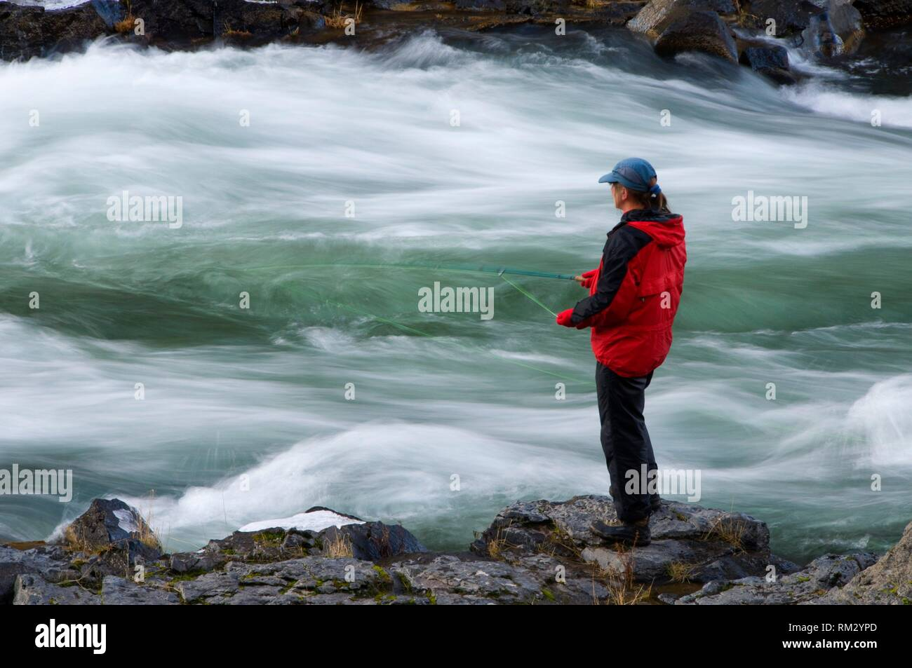 Flyfishing, Steelhead Falls Wilderness Study Area, Deschutes Wild and Scenic River, Prineville District Bureau of Land Management, Oregon. - Stock Image