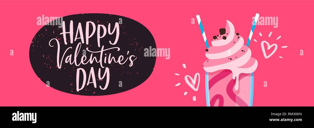 Valentines Day web banner illustration of pink strawberry