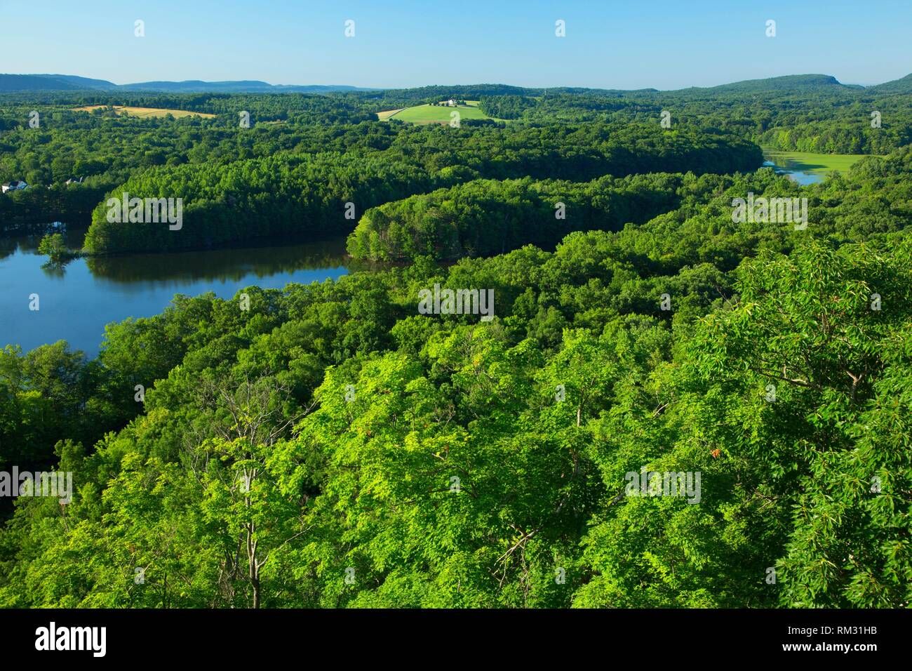 View from trail, Ragged Mountain Preserve, Connecticut. - Stock Image