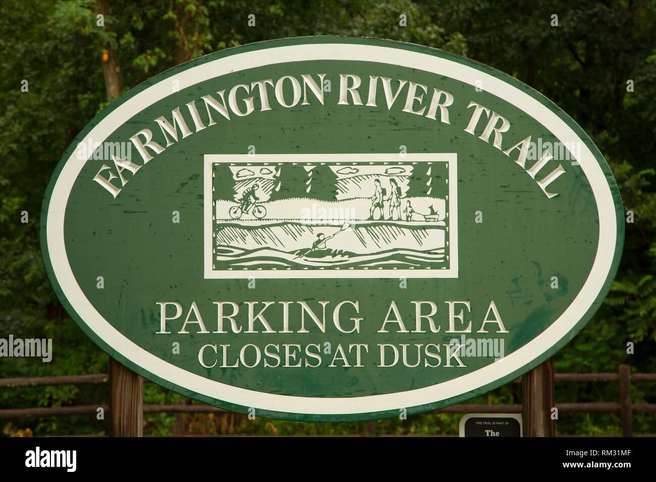 Entrance sign, Farmington River Trail, Burlington, Connecticut. - Stock Image