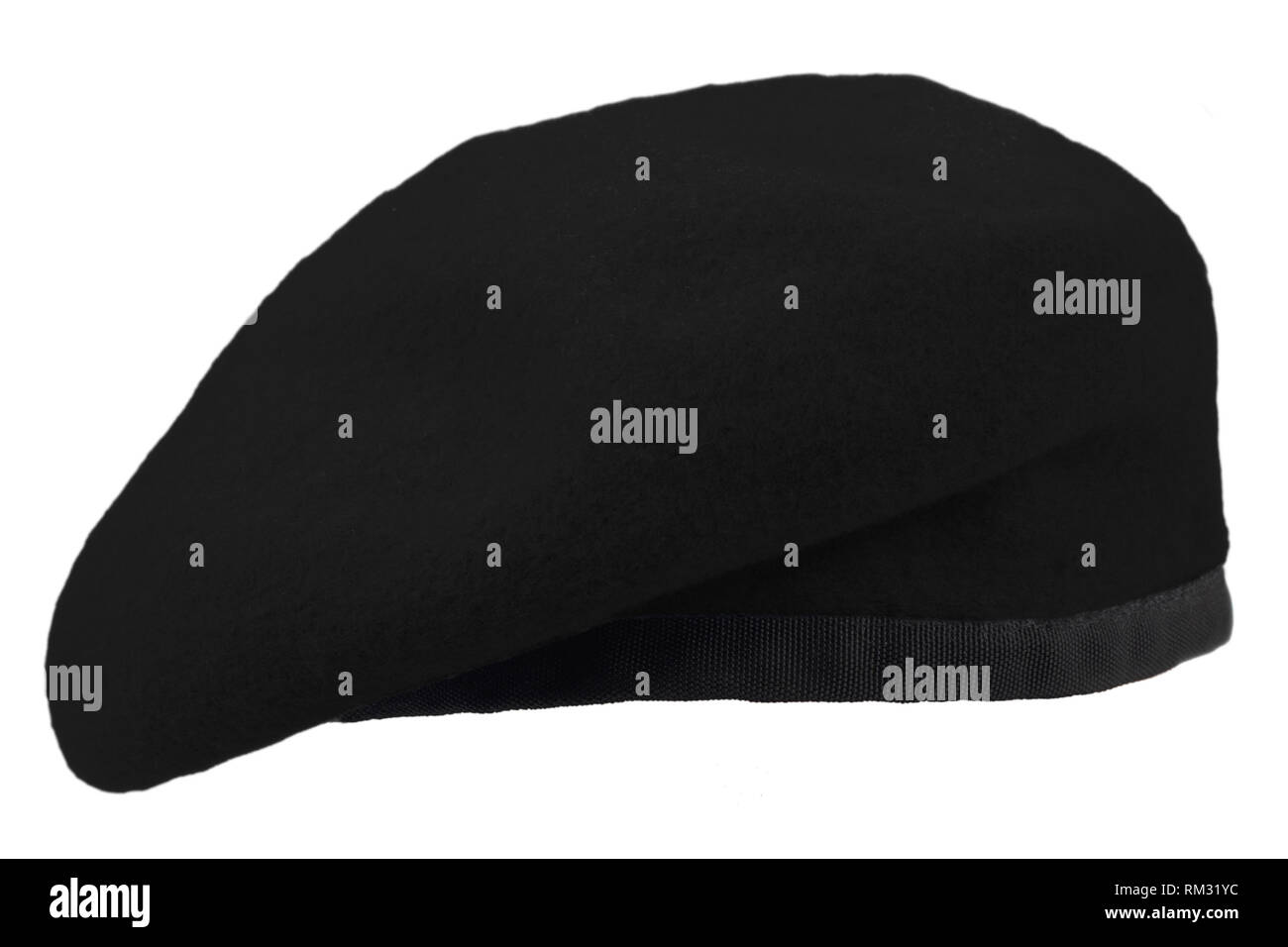 edda3f2210982 Army uniform black beret isolated on white background - Stock Image