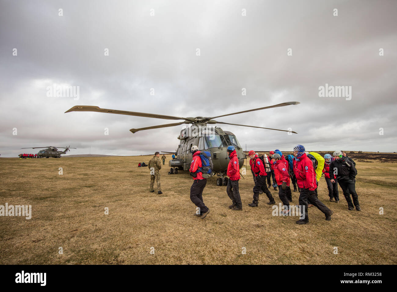 The Dartmoor Rescue running excersises with two helicopters over on Whitchurch Common, Dartmoor. - Stock Image