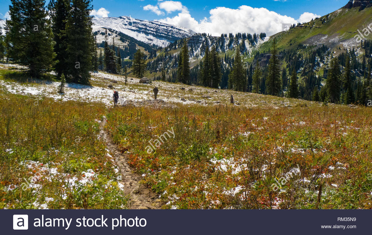 Backpackers hiking the Teton Crest Trail above the Granit Creek drainage in the Grand Teton National Park, Teton County, Wyoming, USA - Stock Image