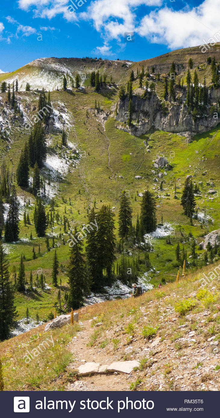 Backpacker hiking trail out of the North Fork of the Granit Creek drainage, Grand Teton National Park, Teton County, Wyoming, USA - Stock Image