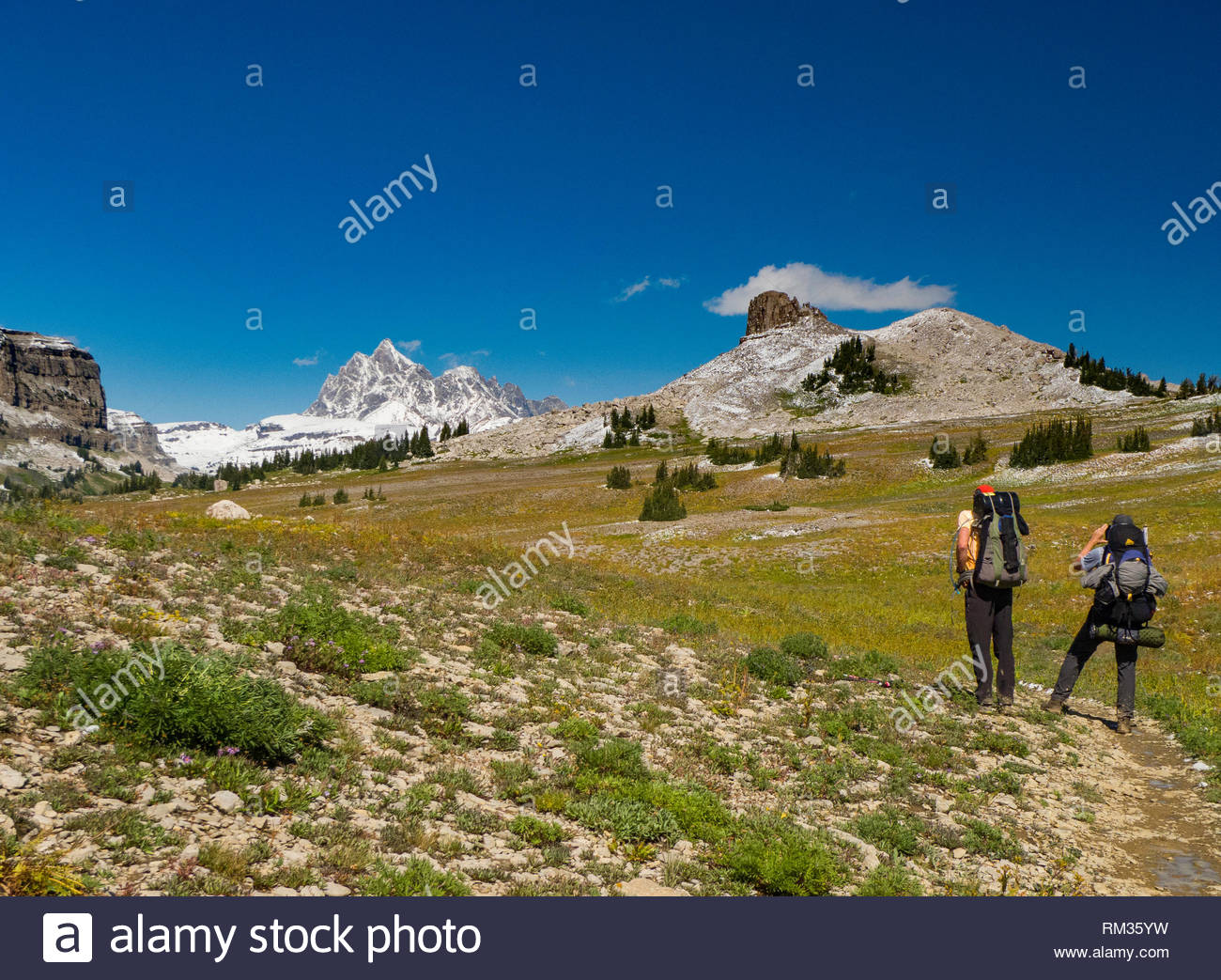 Two backpackers pausing to admire the view of the snow covered Grand Teton peak from the Teton Crest Trail, Jedediah Smith Wilderness, Teton County, W - Stock Image