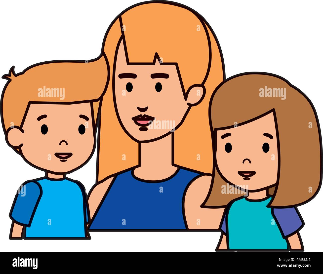 mother with daughter and son characters Stock Vector Art