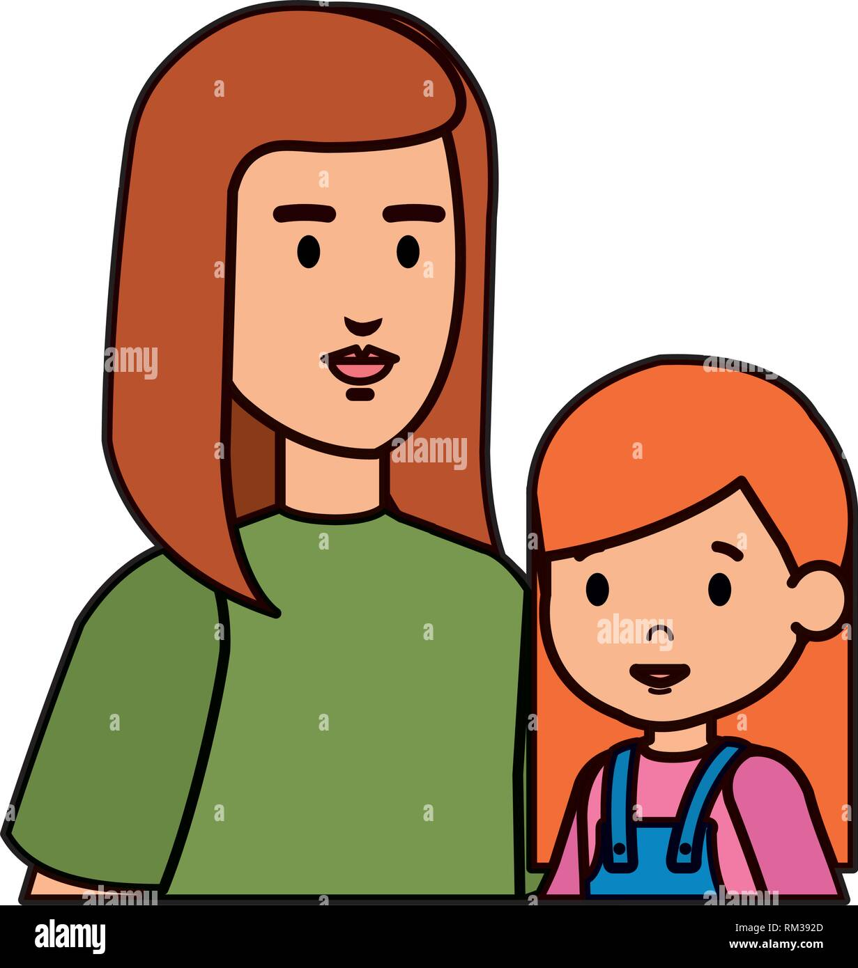 mother with daughter characters - Stock Vector