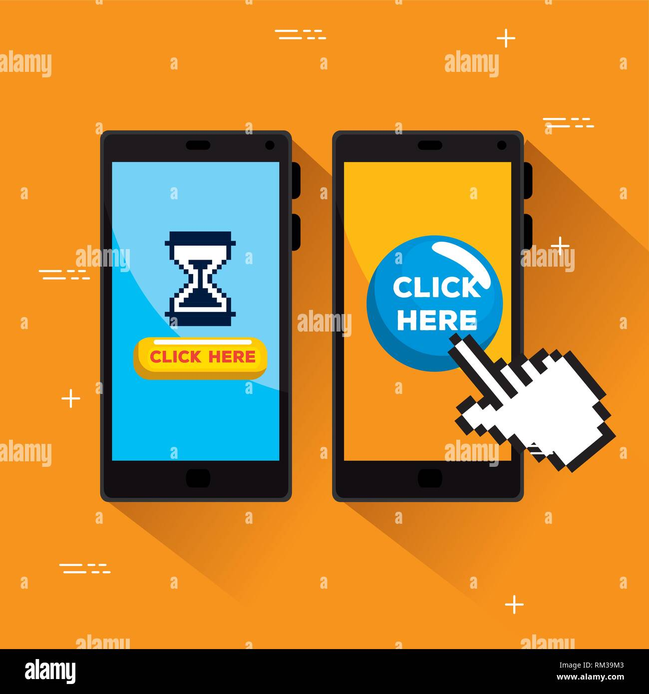 smartphones with hourglass and hand pixel cursor - Stock Image