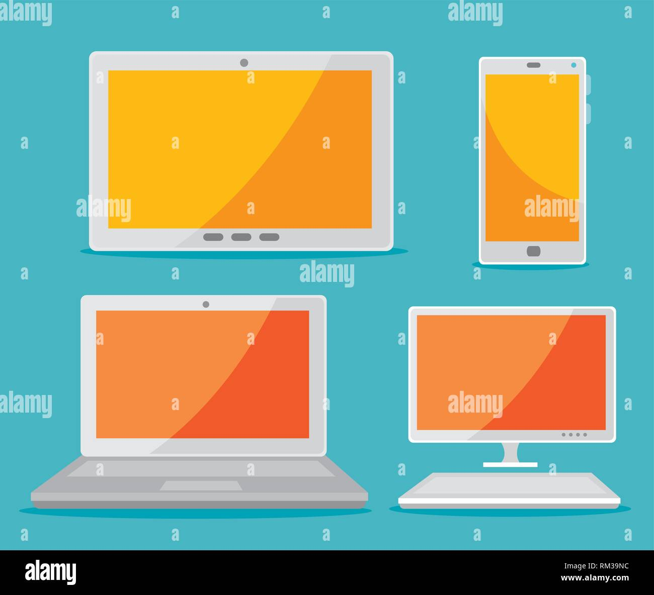 set tablet with smartphone and laptop with computer technology - Stock Image