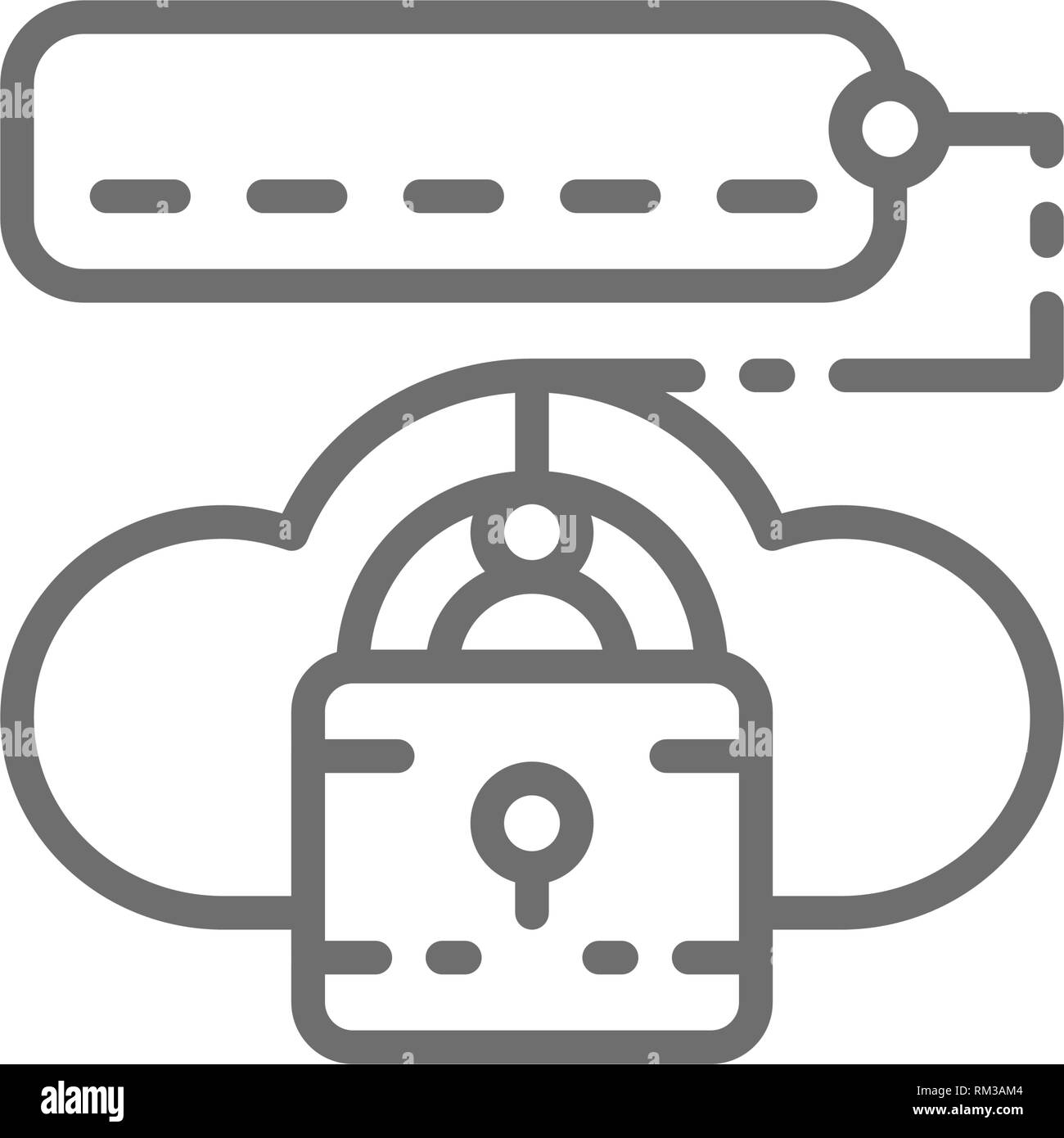 Cloud lock with password, data security line icon. Stock Vector