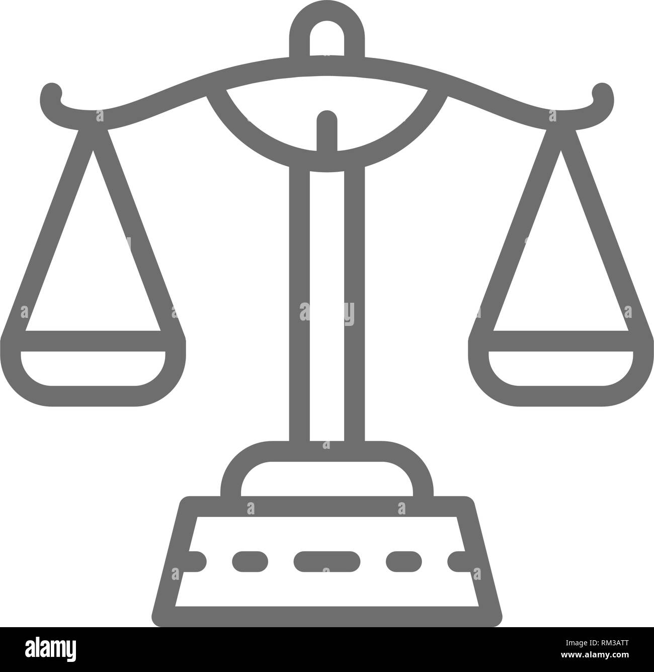 Justice scales, libra line icon. Isolated on white background - Stock Vector