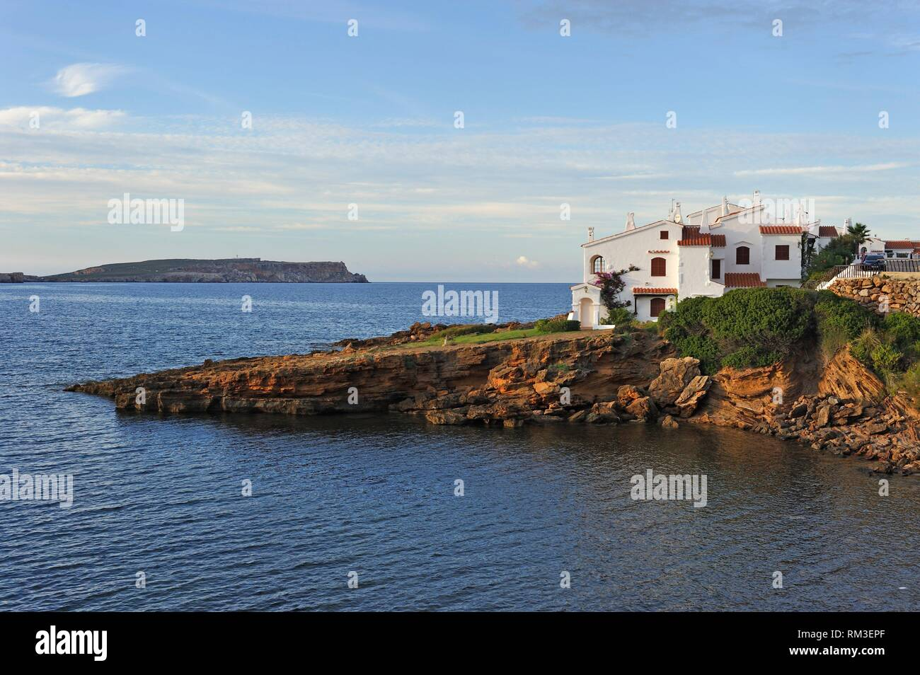holiday villas at Platges de Fornells, seaside resort, Menorca, Balearic Islands, Spain, Europe. - Stock Image
