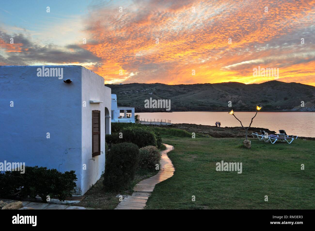 Platges de Fornells, seaside resort, Menorca, Balearic Islands, Spain, Europe. - Stock Image