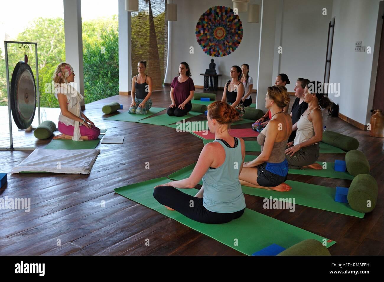 yoga class at the Sen Wellness Sanctuary, near Tangalle, South Coast of Sri Lanka, Indian subcontinent, South Asia. Stock Photo