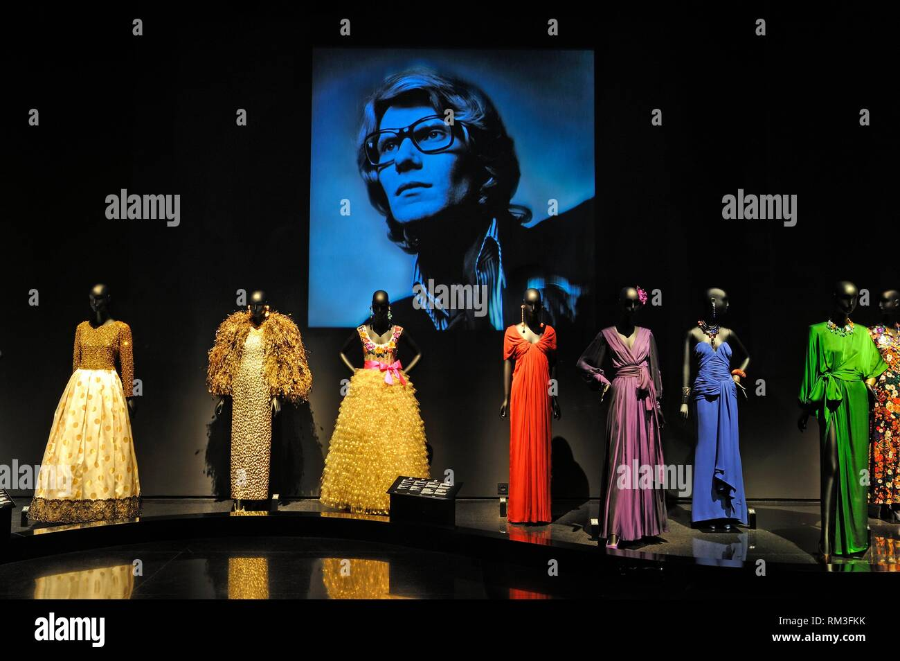 the Yves Saint Laurent exhibition hall (Exhibition design by Christophe Martin) at the Musee Yves Saint-Laurent, Marrakesh, Morocco, North Africa. - Stock Image