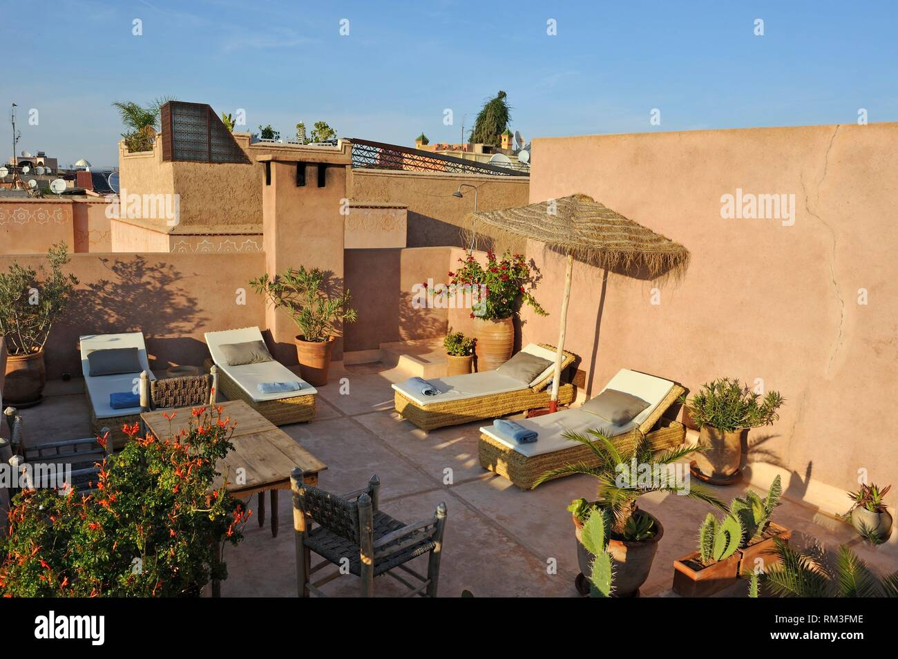 rooftop terrace of Riad Urban Paradise, Marrakesh, Morocco, North Africa. - Stock Image
