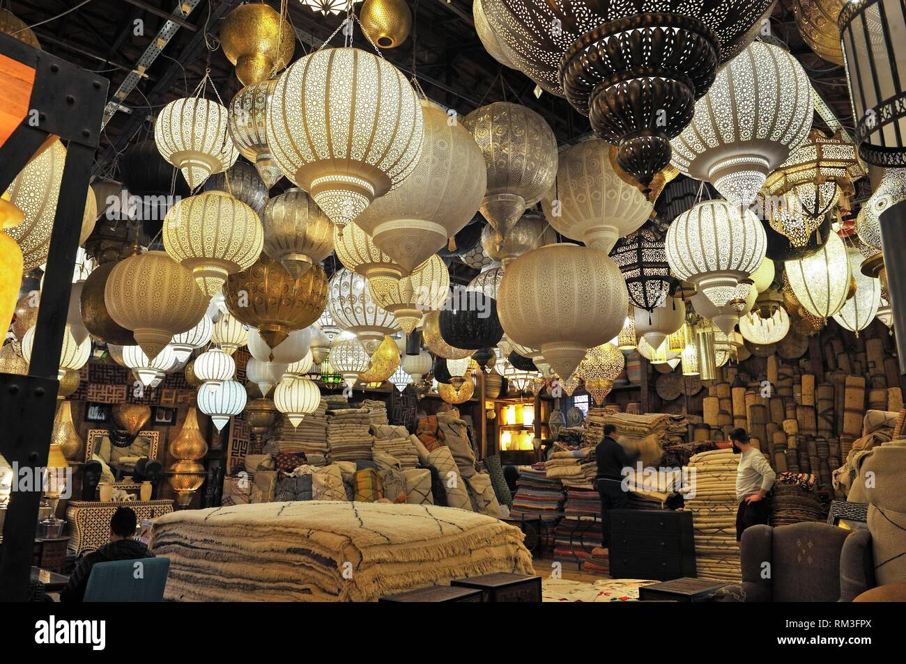 Morrocan furniture and interior design shop of Mustapha Blaoui, Bab Doukkala in the Medina, Marrakesh, Morocco, North Africa. - Stock Image