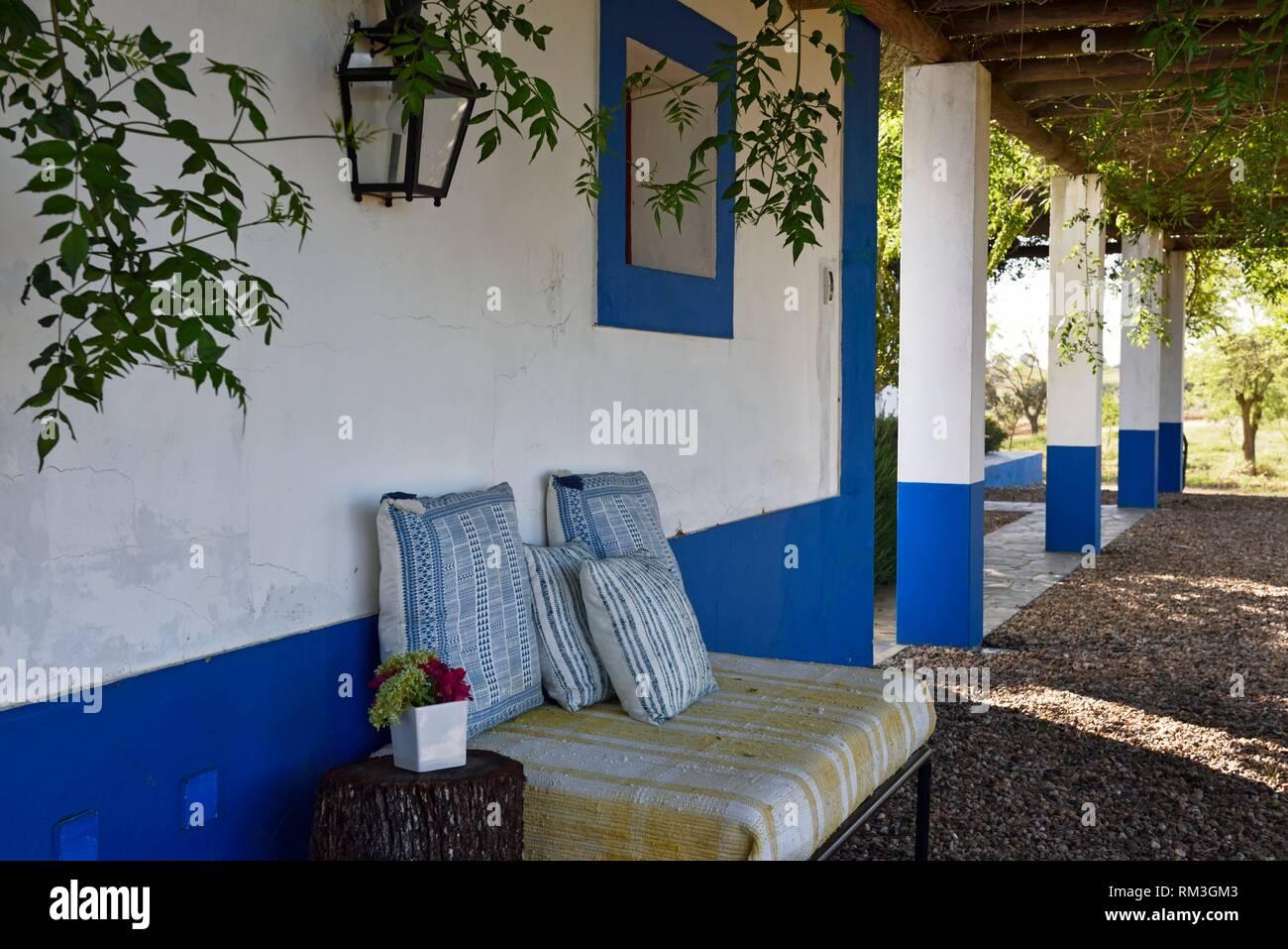 veranda, Vale do Manantio Estate, Moura, Alentejo region, Portugal, southwertern Europe. - Stock Image