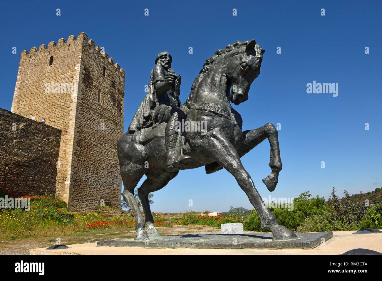 Equestrian statue of Ibn Qasi, governor of the Taifa of Mertola in 12th century A. D, Castle of Mertola, Alentejo region, Portugal, southwertern Stock Photo