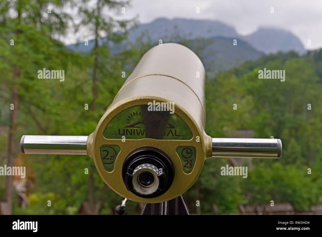 longue-vue touristique avec la chaine des Tatras en arriere-plan, Zakopane, region Podhale, Massif des Tatras, Province Malopolska (Petite Pologne), - Stock Image