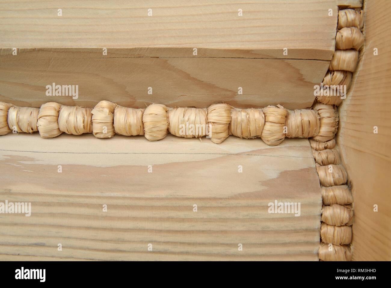 construction de maison en bois avec assemblage et joint traditionnels, Zakopane, region Podhale, Massif des Tatras, Province Malopolska (Petite - Stock Image