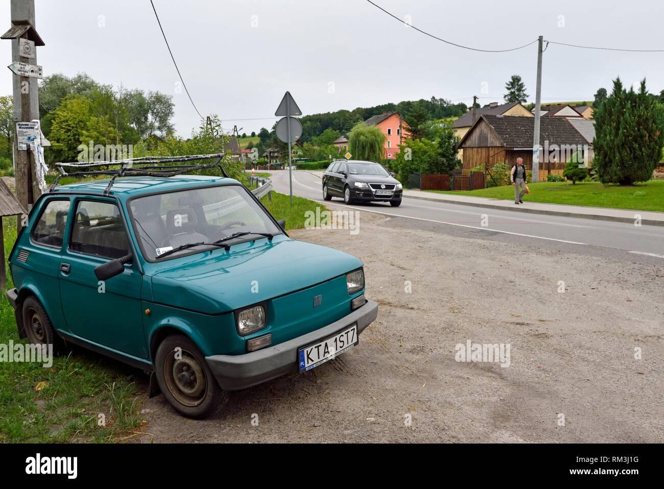 Fiat FSM 126, village of Binarowa, County of Gorlice, Malopolska Province (Lesser Poland), Poland, Central Europe. - Stock Image