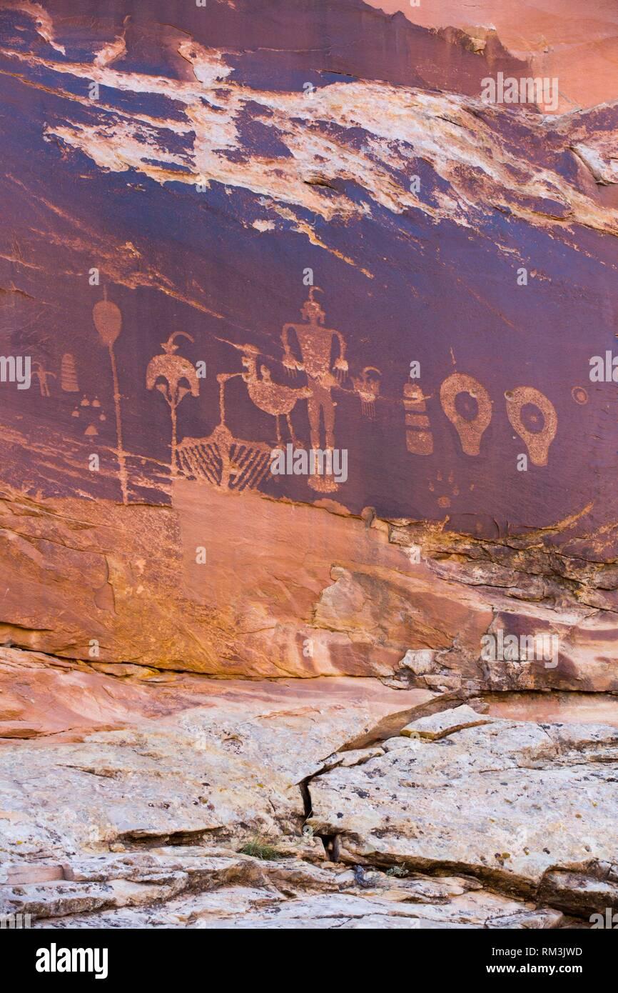 Wolfman Petroglyph Panel, Butler Wash, Near Bluff, Utah, USA - Stock Image