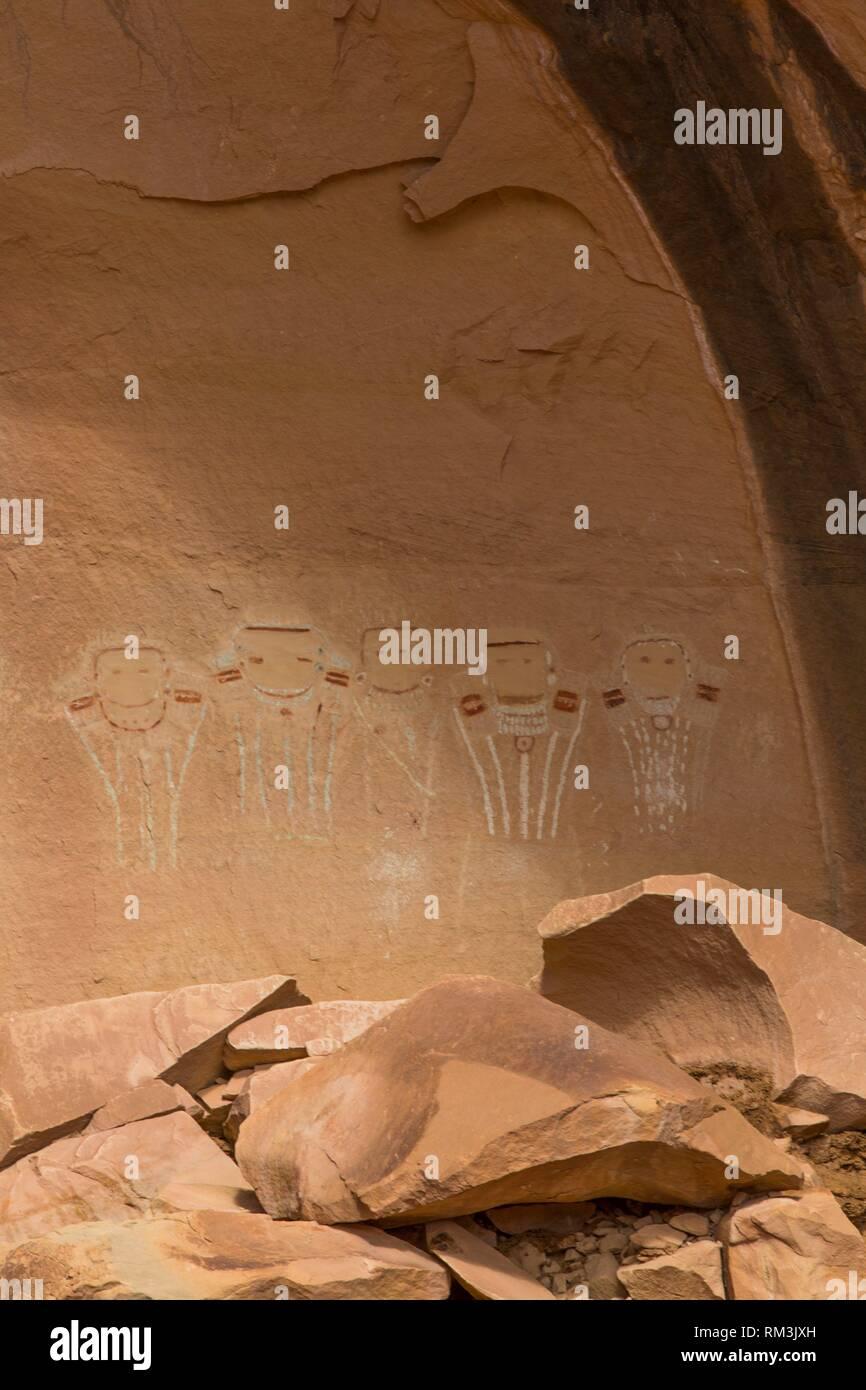 Five Faces Pictograph Panel, Davis Canyon, Canyonlands National Park, Utah, USA - Stock Image